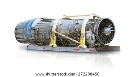 F16 air force plane jet engine aerospace manufacturing isolated on white with wet floor reflection - stock photo