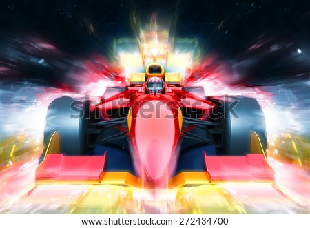 F1 bolide with light effect. Race car with no brand name is designed and modelled by myself - stock photo