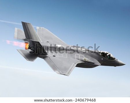 F35 Fighter jet at supersonic speeds. - stock photo