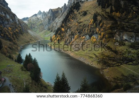 Or Lake Alpstein Range Canton Appenzell Stock Photo Safe to Use