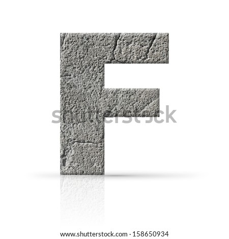 f  letter cracked cement texture