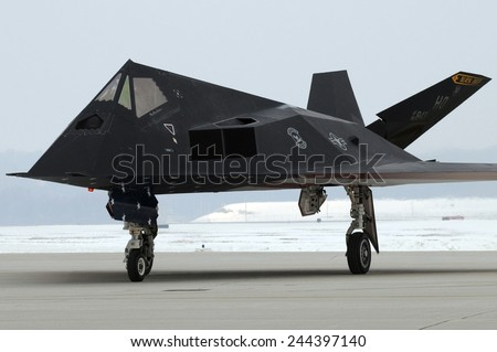 F-117 Nighthawk stealth fighter during its retirement ceremony at Wright-Patterson Air Force Base Ohio. In operation since in 1983 the F-177 was retired in 2008. March 11 2009. - stock photo