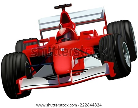 F1 Race Car - Colored Illustration