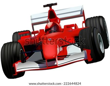 F1 Race Car - Colored Illustration - stock photo
