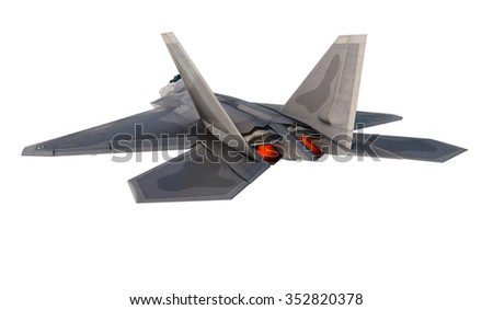 F -22 raptor , american military fighter plane.Jet plane. Fly in clouds.  - stock photo