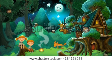 Fable stage - cartoon illustration for the children - stock photo