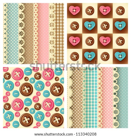 Fabric and buttons seamless pattern - raster version - stock photo