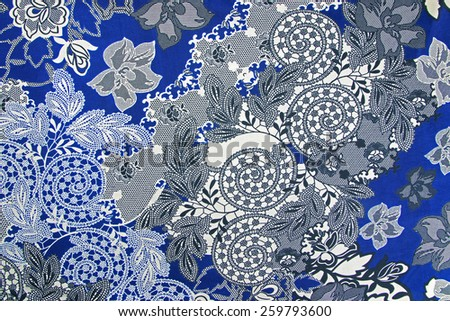 Fabric Background, Fragment of colorful retro tapestry textile pattern with floral ornament useful as background - stock photo