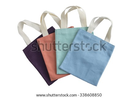fabric bag isolated on white background with clipping path - stock photo