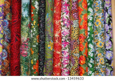 Fabric bolts - Medium scale floral prints - stock photo