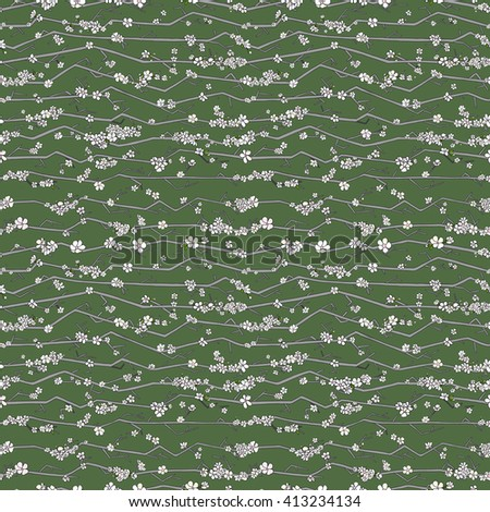 Fabric branches pattern. Textile branches pattern. Trendy branches pattern. Cute branches pattern. Green branches pattern. Print branches pattern. Summer branches pattern. Nature branches pattern. - stock photo
