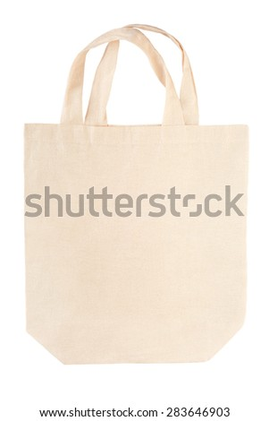 Fabric canvas bag isolated on white, clipping path included