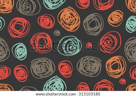 Fabric circles abstract seamless pattern background  with hand drawn elements. Raster version - stock photo