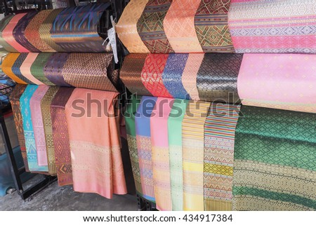 Fabric crafts thai Silk Cloth Hand made by Thailand - stock photo