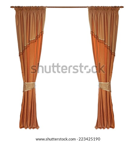fabric curtains on a white background  - stock photo