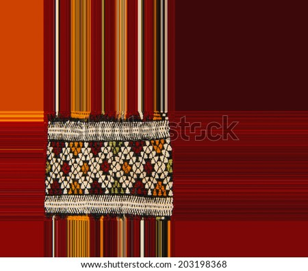 Fabric design in red and orange  with copy space