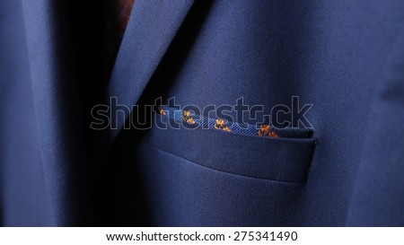 fabric Detail closeup, close-up of jacket pocket, fashionable background for your message - stock photo