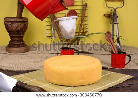 Fabric Dripping Coffee and Artisanal Cheese - stock photo