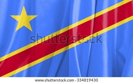Fabric Flag of Democratic Republic of the Congo  - stock photo