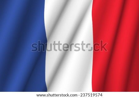 Fabric Flag of France - stock photo