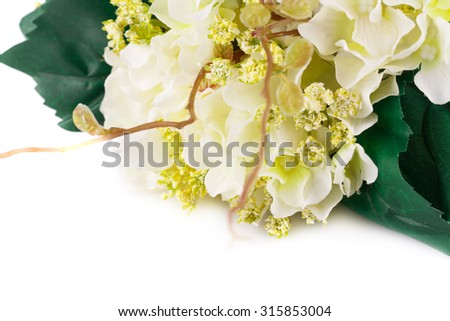 Fabric flowers closeup picture. - stock photo