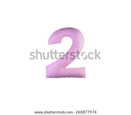 Fabric number isolated on white background, 2 - stock photo