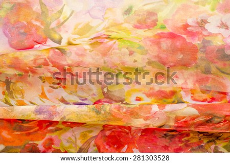 Fabric silk texture. abstract painting. abstract wave pattern on silk batik. a fine, strong, soft, lustrous fiber produced by silkworms in making cocoons and collected to make thread  - stock photo