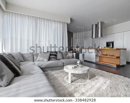 fabric sofa in the modern living room overlooking on the kitchen  - stock photo