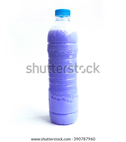 Fabric softener in plastic bottles isolated on white background.