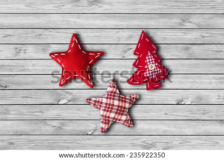 Fabric Stars and Christmas Tree - stock photo