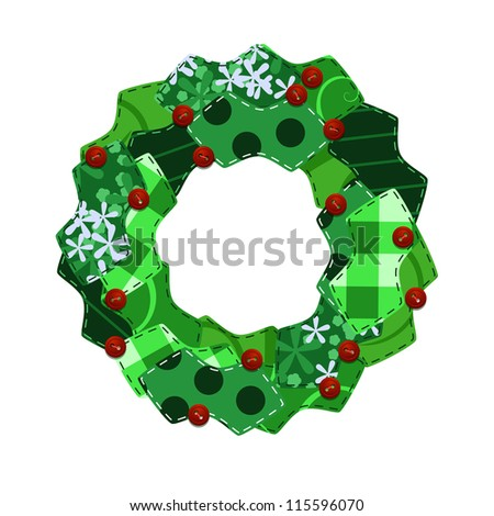 Fabric swatch Christmas wreath - raster - stock photo
