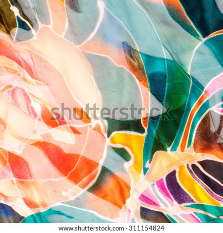 Fabric texture abstract  poppies.  tissue, textile,  material,  - stock photo