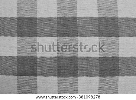 Fabric Texture, Close Up of Black and White Lumberjack Plaid Towel or Napkin Pattern Background.