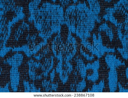 fabric texture endless pattern, black and blue background - stock photo