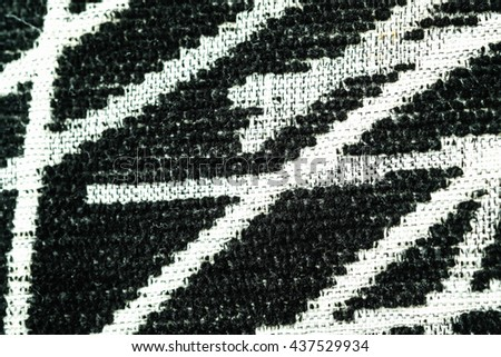 Fabric texture in black and white stripes close up, Abstract Fabric Background concept - stock photo
