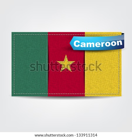 Fabric texture of the flag of Cameroon with a blue bow. (Raster)