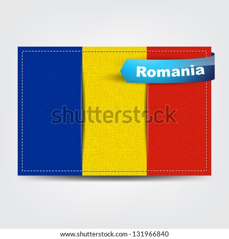 Fabric texture of the flag of Romania with a blue bow. (Raster from vector)