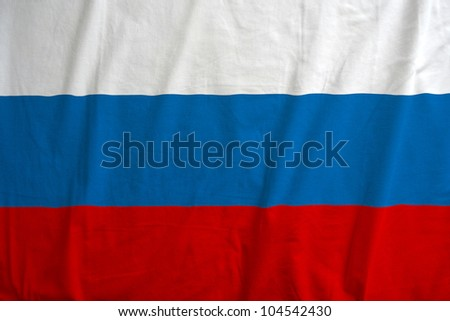 Fabric texture of the flag of Russia - stock photo