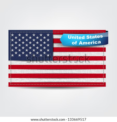 Fabric texture of the flag of United Stated of America with a blue bow. (Raster)