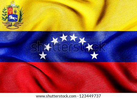 Fabric texture of the flag of Venezuela