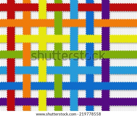 Fabric Weave Rainbow - stock photo