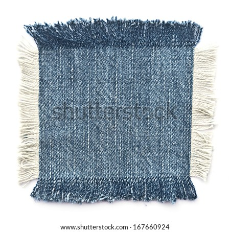 Fabric with denim. Isolated on white. - stock photo