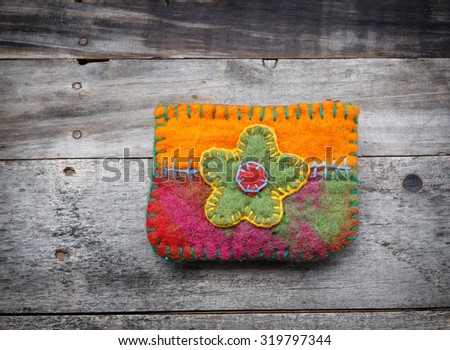 Fabrics bag decorated with embroidery handmade - stock photo