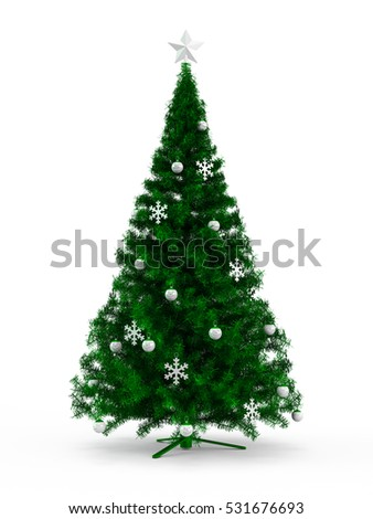 Fabulous Christmas tree with Green ornaments on it isolated on white background. 3D Rendering, Illustration.