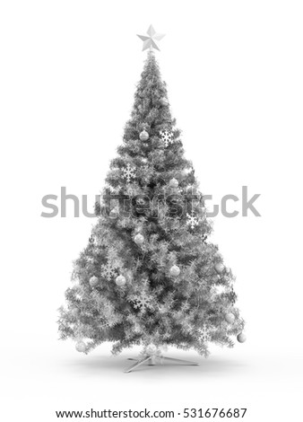 Fabulous Christmas tree with white ornaments on it isolated on white background. 3D Rendering, Illustration.