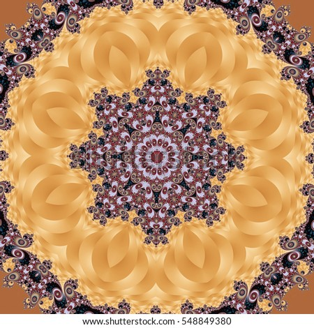 Fabulous fractal background with spiral and circle ornament. You can use it for invitations, notebook covers, phone case, postcards, cards, ceramics, carpets. Artwork for creative design and art.
