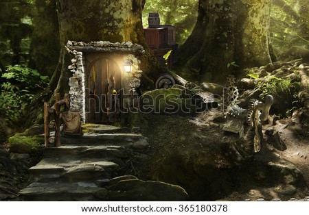 fabulous, magical, mysterious forest where elves, gnomes and other fabular beasts live - stock photo
