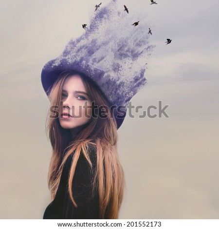 fabulous portrait of a young girl in a fairy hat diffuse
