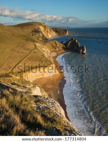 Fabulous view east from Swyre Head down to Durdle Door, Hambury Tout and Dungy Head, Dorset, UK. A popular part of Dorset's Jurassic coastline for visitors.
