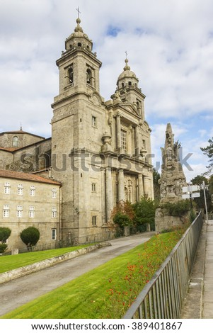 Facade and bell towers of San Francisco church and convent in Santiago de Compostela